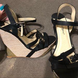 Shoes - Black & Gold Wedges